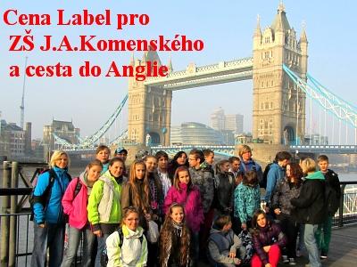 Evropská jazyková cena Label pro ZŠ J.A.Komenského a cesta do Anglie